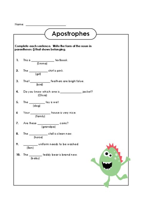 Practice Worksheet For Apostrophes by Apostrophe Worksheet Lesupercoin Printables Worksheets