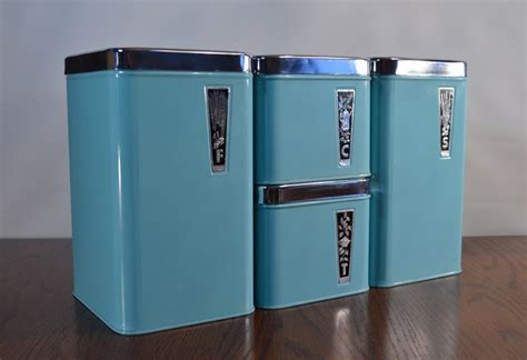 vintage metal kitchen canister sets vintage retro turquoise blue eatons tin chrome metal canister set flour sugar tea coffee 125