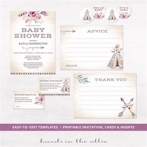 printable invitation kits baby shower boho baby shower invitation kit printable stationery