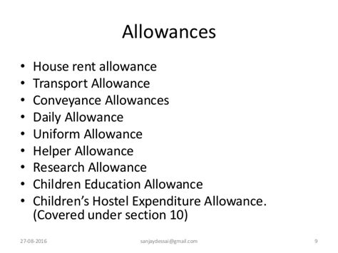 exempt allowances under section 10 computation of income from salaries for assessment year