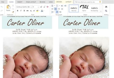 free baby announcement templates ms word templates for cards for child birth