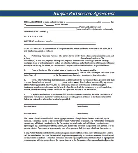 project partnership agreement template business partnership agreement 9 documents in