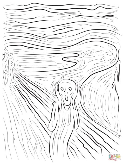 the scream by edvard munch coloring page free printable
