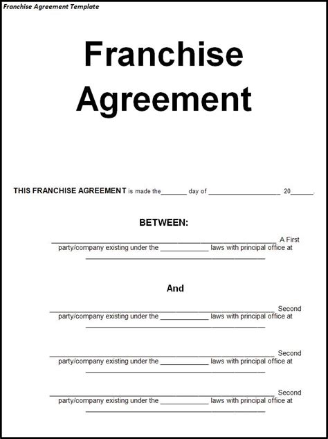 Franchise Templates agreement templates templates part 2