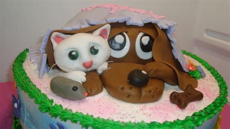 cat and puppy and flower birthday cake cakecentral