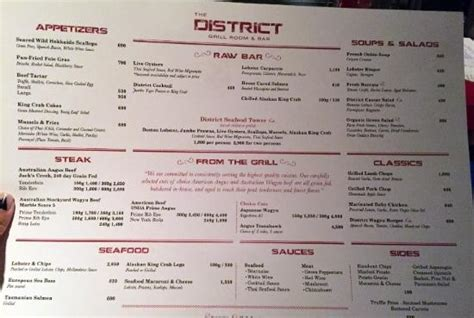 the grill room menu 메뉴 picture of the district grill room and bar bangkok tripadvisor