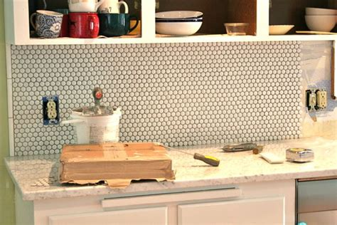 Kitchen Backsplashes With White Cabinets Kitchen Backsplash Penny Tile Whipstitch