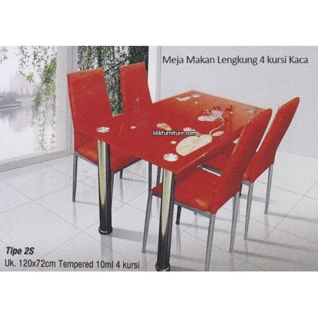 Meja Makan Kaca Import harga meja makan kaca lengkung 4 kursi merah