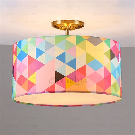 Childrens Ceiling Light Shades Pop Drum Shaped 3 Light Room Ceiling Light