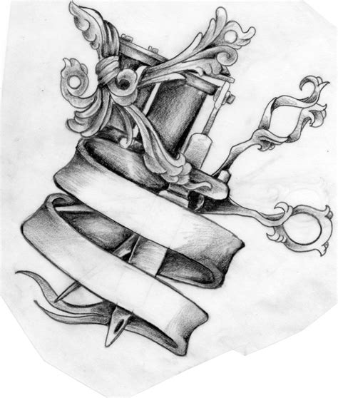 machine tattoo designs scissors and machine design by mustang inky