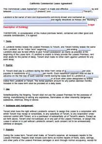Lease California Free California Commercial Lease Agreement Template Pdf