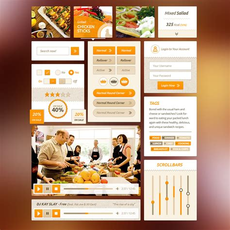 fresh free psd website templates freebies graphic food ui kit psd freebie pack download download psd