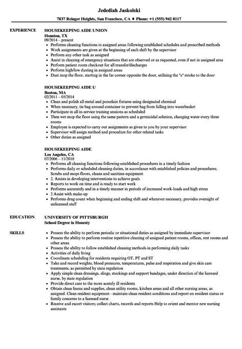 Sle Resume Hotel Housekeeping Supervisor by Exles Hotel Housekeeping Aide Resume Resume
