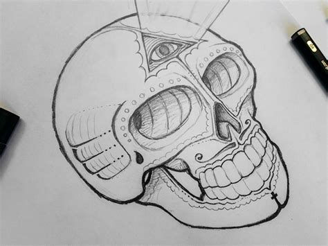 sugar skull concept sketch by jerimy dribbble