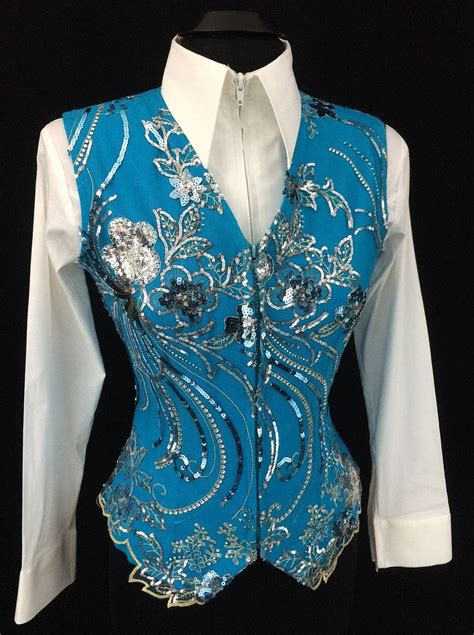 design horse riding clothes turquoise and silver western horse show vest by elite