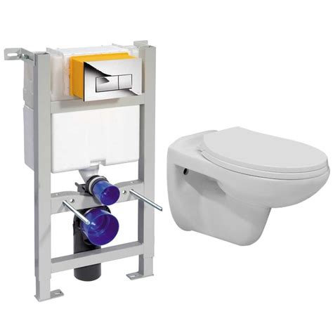 How To Plumb A Wall Mounted Toilet by Compact Dual Flush Cistern With Frame And Toilet