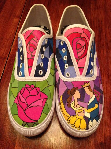 diy shoe painting painted and the beast shoes disney and the
