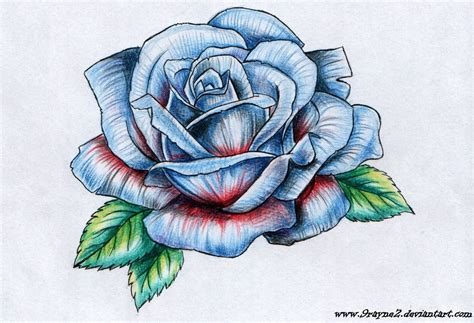tattoo rose drawings blue on wrist