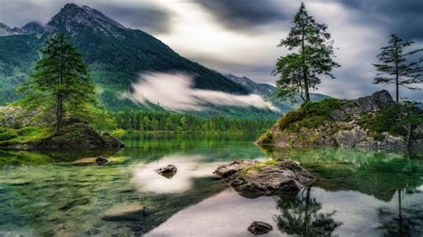 cloudy day   picturesque hintersee ramsau germany hd wallpaper wallpaper studio
