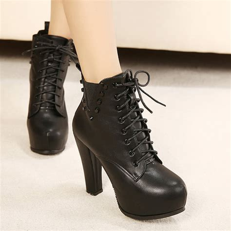 Size 34 43 Women Boots Rivets High Heels Round Toe winter round toe chunky high heel lace up ankle rivets