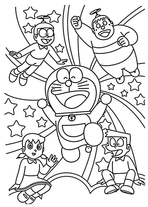 Doraemon And Friends Hitam by Doraemon And Friends Coloring Pages For Printable