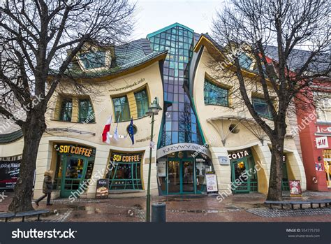 crooked house in sopot poland is like a children s book sopot poland november 30 2016 crooked stock photo