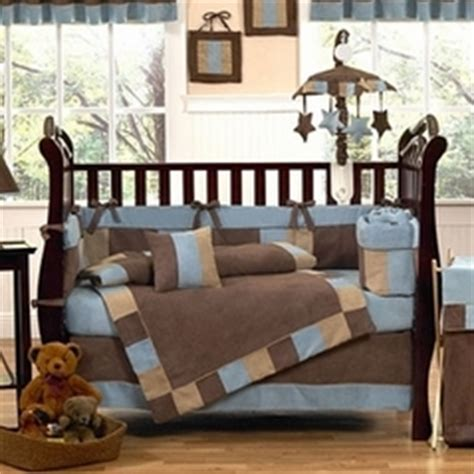blue and brown crib bedding