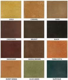 stained concrete colors water based concrete stain color chart