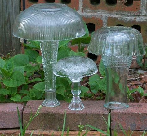 glass mushroom solar lights 3 upcycled yard art vintage glass mushrooms by