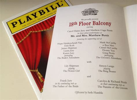 Playbill Theater Wedding Program Or Invitation 8 Page Broadway Themed Ny 2 50 Via Etsy Playbill Template Inside