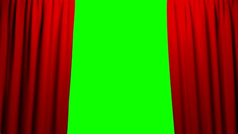 green screen curtain animation of opening red curtain on green screen stock