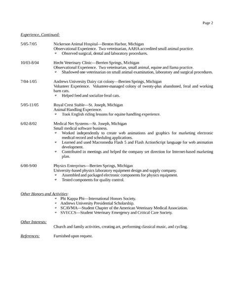 Veterinary Receptionist Sle Resume by Basic Veterinary Receptionist Resume Template Page 2