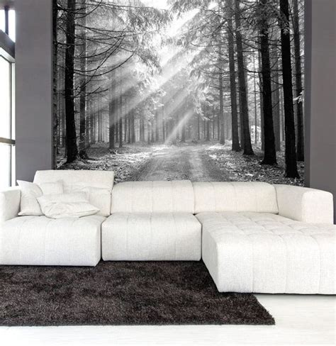Ethan Allen Home Interiors wall mural black and white of coniferous forest in the
