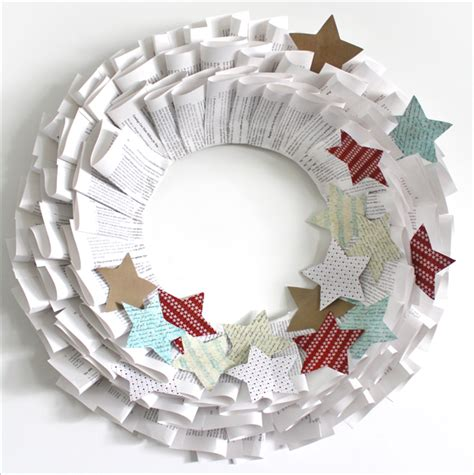 Make Paper Wreath - handmade book paper wreath how to the