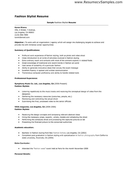 exle resume of a fashion stylist job resume exle