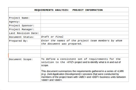 Project Requirements Template Excel by Requirement Analysis Template 9 Free Documents