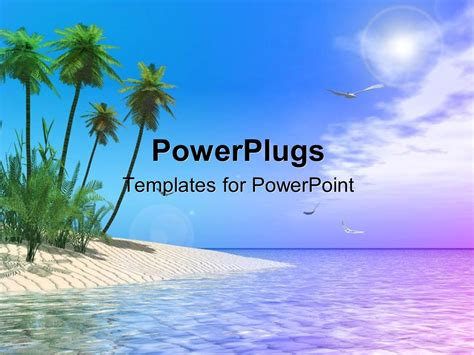 powerpoint template scenery of tropical beach with palm