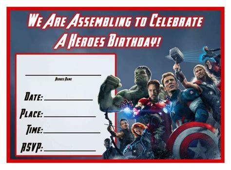 Marvel Birthday Card Template by Free Age Of Ultron Printable Birthday Invitation