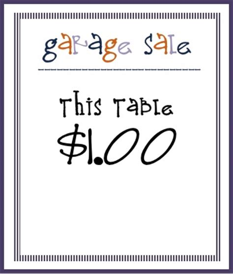 Free Printable Garage Sale Price Tags by Sweet Sewn Stitches Thursday Threads Successful Garage