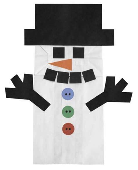 Snowman Papercraft - paper bag puppets bag snowman winter crafts paper bags