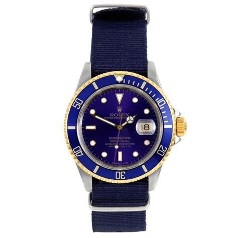 pre owned rolex mens submariner two tone blue