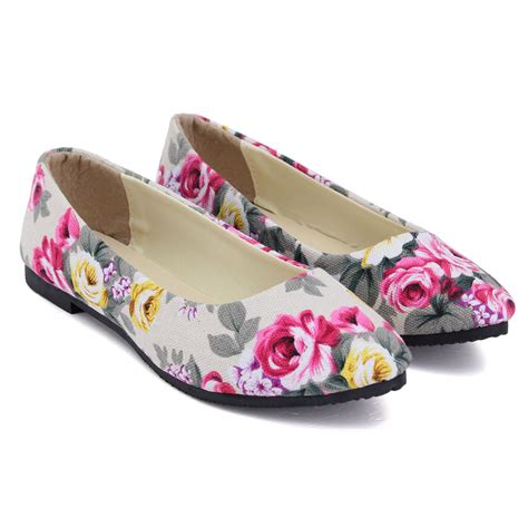 floral flat shoes womens flower floral flat casual shoes ballerina
