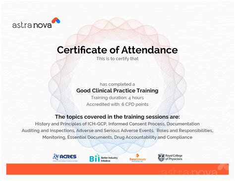 cpd certificate template pharmaceutical and clinical research trainings
