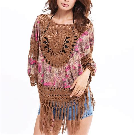 Tassel Outer 8 s indian style outer blouse tassel knitting large size tops s tops clothing