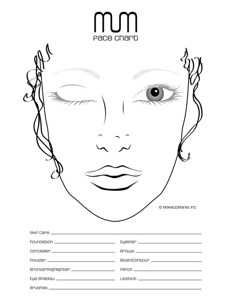 makeup chart template chart for practice and repertoire of looks make
