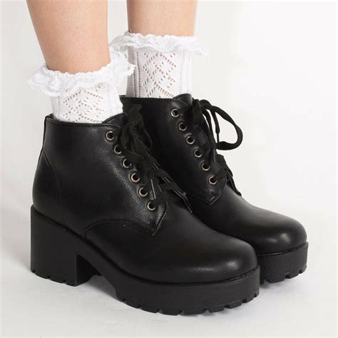 grunge boots ark black lissy lace up chunky boots black laceup