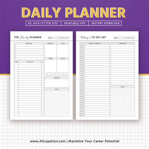 printable planner daily planner daily schedule to do list printable