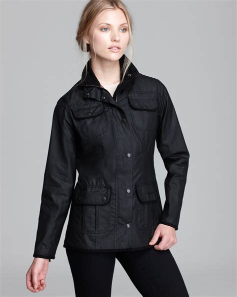 womens barbour waxed cotton utility jacket barbour lyst barbour jacket utility lightweight waxed cotton