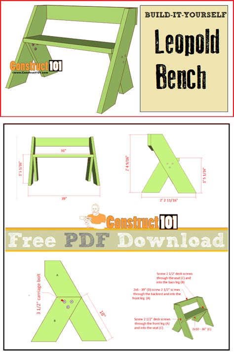 leopold bench plans   woodworking projects
