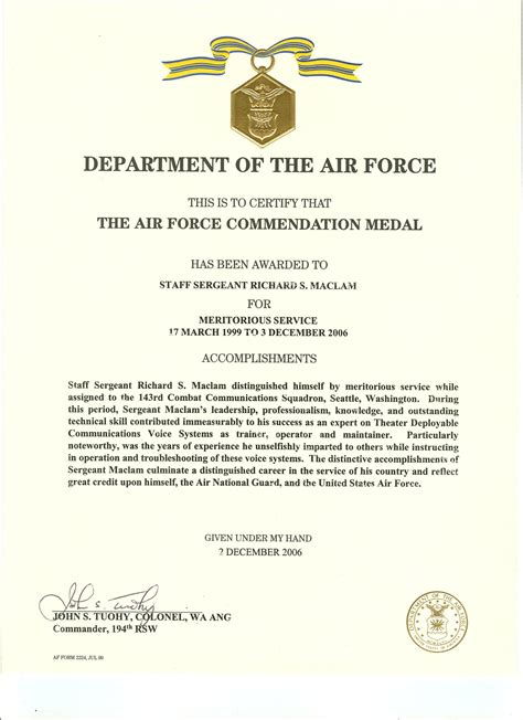 air force commendation medal template